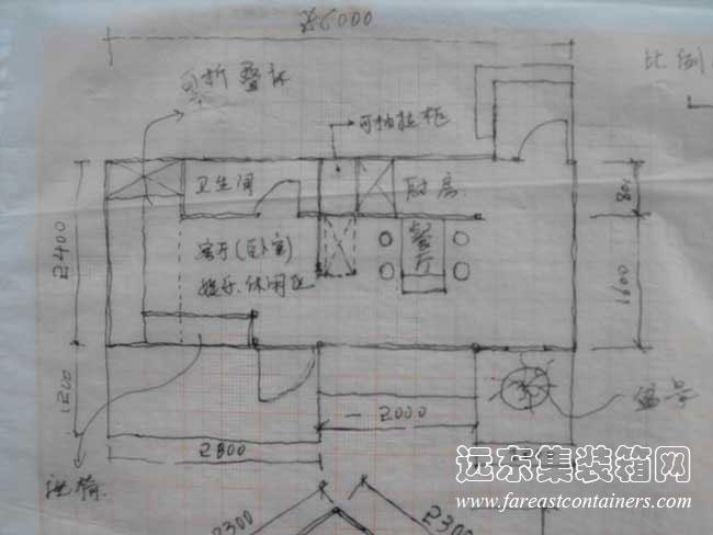 集装箱房子的结构图纸_二手集装箱活动房屋创意设计:可变形的移动住所(完)_远东集装箱网