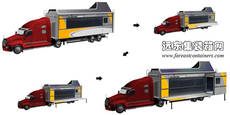 二手集装箱活动房屋设计创意:可变形房车