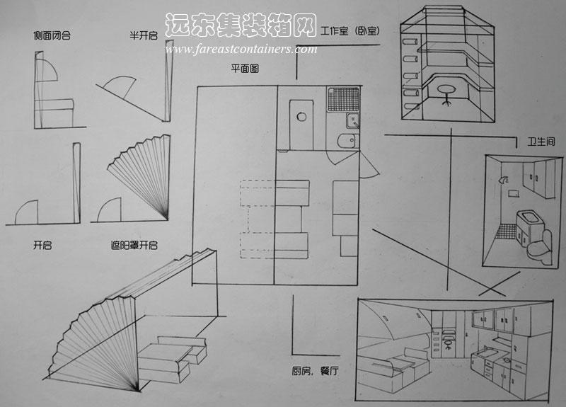 集装箱活动房屋创意设计:折扇集装箱