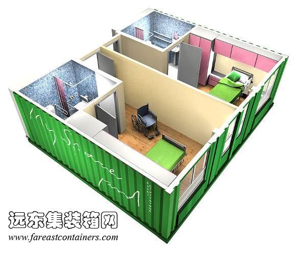 5倍箱体房间模型,集装箱房屋