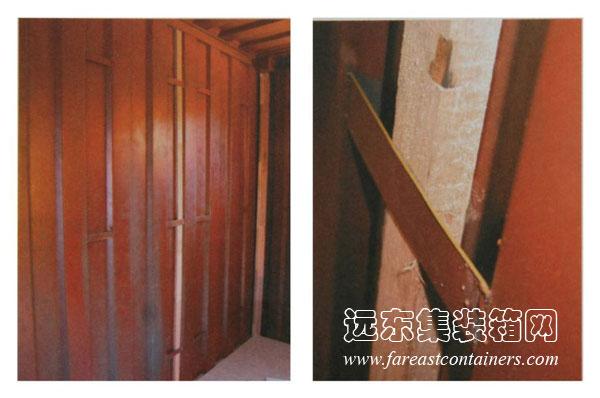 木条与波形钢板之间可使用胶粘剂粘合,也可以在垂直方向上间隔一定