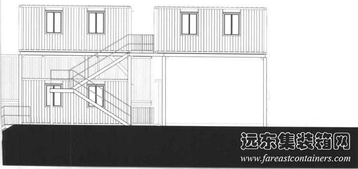 侧立面,集装箱建筑设计图,集装箱房屋,集装箱住宅,集装箱活动房,住人