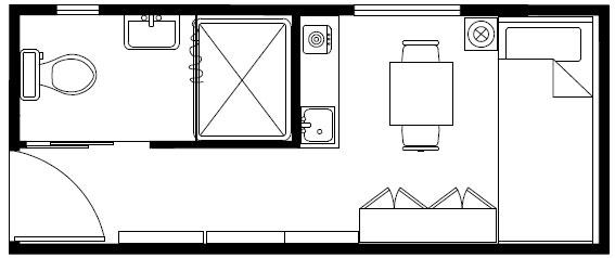 20英尺集装箱平面布局,集装箱房屋,集装箱活动房,住人集装箱,集装箱