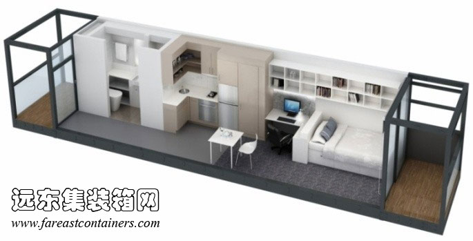 澳大利亚国立大学集装箱学生宿舍室内效果图