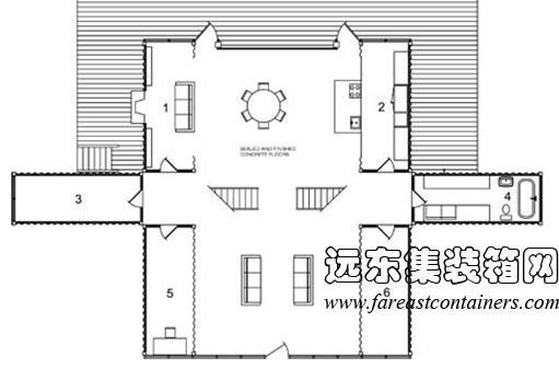 adriance 集装箱住宅一层平面图,集装箱房屋,集装箱活动房,住人集装箱