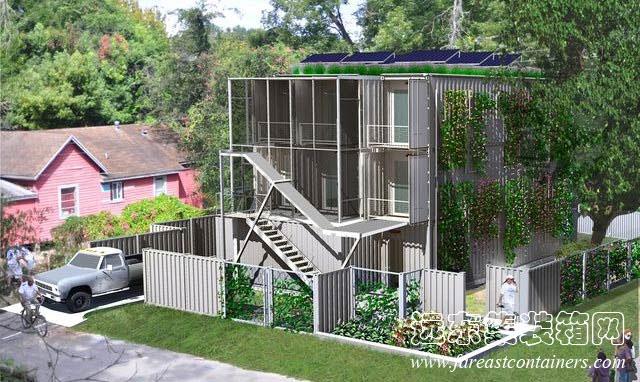 集装箱公寓设计效果图-集装箱建筑适应性设计与建造研究 34高清图片