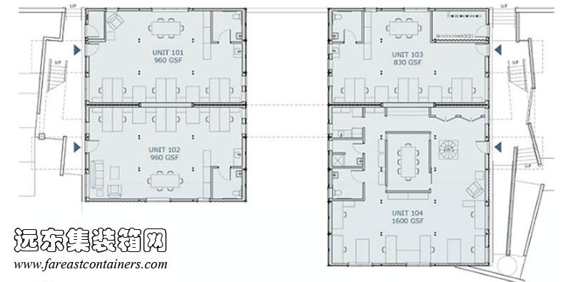 集装箱办公楼一层平面图