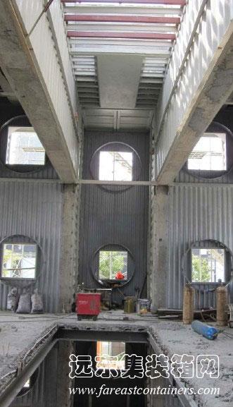 万科生态集装箱餐厅施工照片,集装箱房屋,集装箱活动房,住人集装箱,集