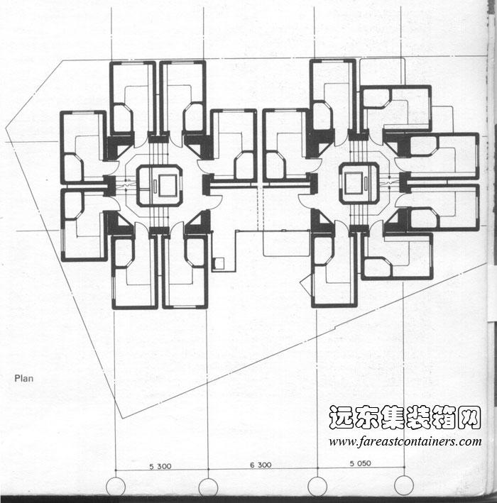 中银舱体楼平面图,盒子建筑
