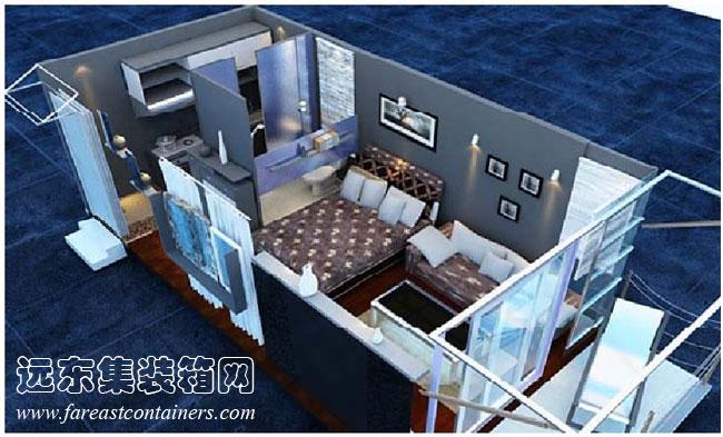 集装箱式活动住宅室内透视图2