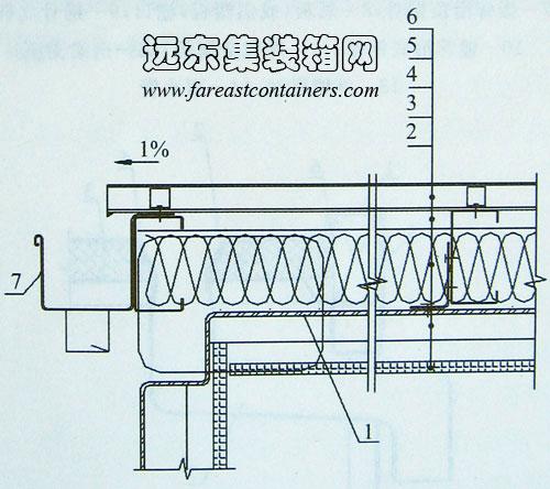 金属板平屋顶-排水向箱端构造示例