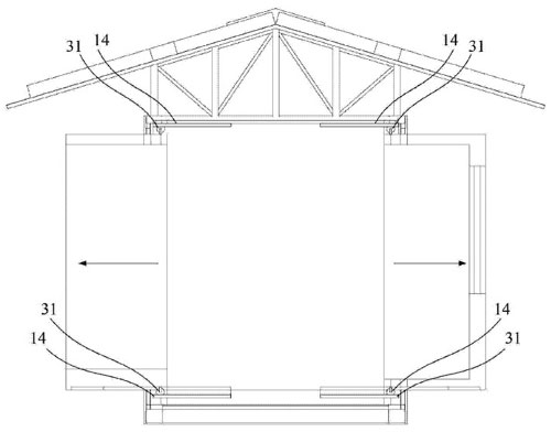 集装箱房屋中导轨结构的设置示意图