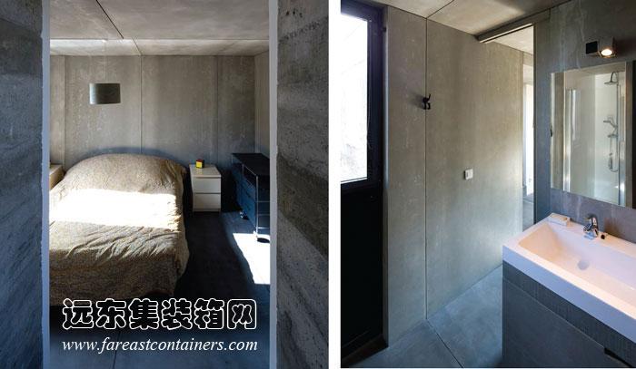 南斯集装箱住宅二层的主卧室和浴室