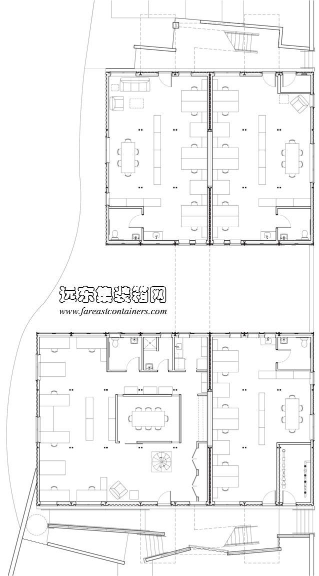 罗德岛集装箱办公楼一层平面图