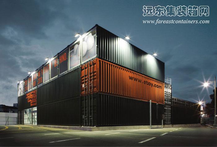 夜色中的集装箱建筑: Gwanju 集装箱艺术馆